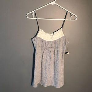 NWT Ann Taylor LOFT Light Gray White Camisole